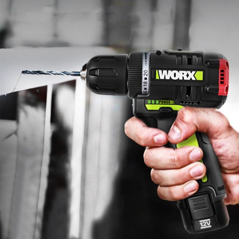 Obsługi WORX 12V wkrętak elektryczny wiertarka akumulatorowa Mini 320NM maksymalny moment obrotowy bezprzewodowy sterownik mocy 2000mAh bateria litowo-jonowa 2-prędkość