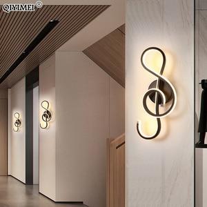 Image 4 - Modern Minimalist Wall Lamps Living Room Bedroom Bedside 16W AC96V 260V LED Sconce black white Lamp Aisle Lighting decoration
