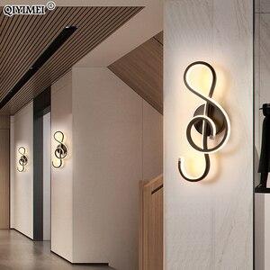 Image 4 - Nowoczesne minimalistyczne kinkiety salon sypialnia nocna 16W AC96V 260V LED kinkiet czarny biały lampa oświetlenie alejek dekoracji