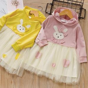 Crianças com capuz vestido de bebê meninas vestido de casamento fantasia manga longa festa dos desenhos animados vestido de coelho para a menina vestidos de primavera outono