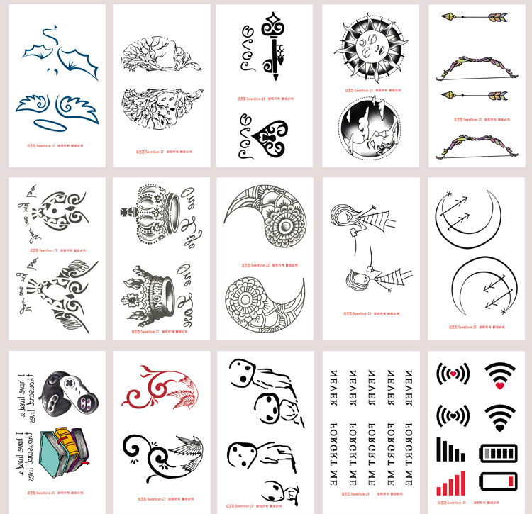 30pcs Set Temporary Tattoo Sticker Heart Cat Eye Moon Fake Tattoo Designs Cute Body Tattoo Stickers For Hands Wrist Men Women Temporary Tattoos Aliexpress
