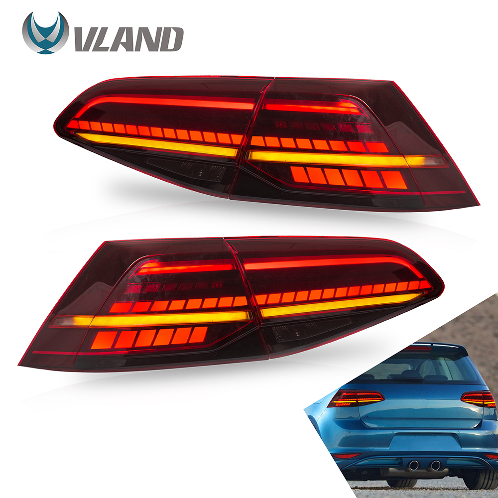 VLAND Tail Lights Assembly For Volkswagen Golf 7 2013-2019 Taillight Tail Lamp With Turn Signal Reverse Lights LED DRL Light