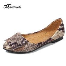 MAIERNISI Nữ Cô Gái Đế Bằng Hỗn Hợp Màu Sắc Giày Nữ Khá Thoải Mái Trơn Trượt Trên Flat Plus Size 35 46