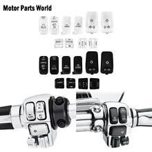 10 adet Motorcyclle el kumanda anahtarı konut düğmeleri kapaklar için siyah krom Harley Touring Electra Glide sokak Glide 1996 2013