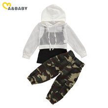 Ma&Baby 1-6Y Toddler Child Kid Girls Clothes Set Mesh Hooded Tops Vest + Camo Pants Outfits Children Costumes Tracksuit