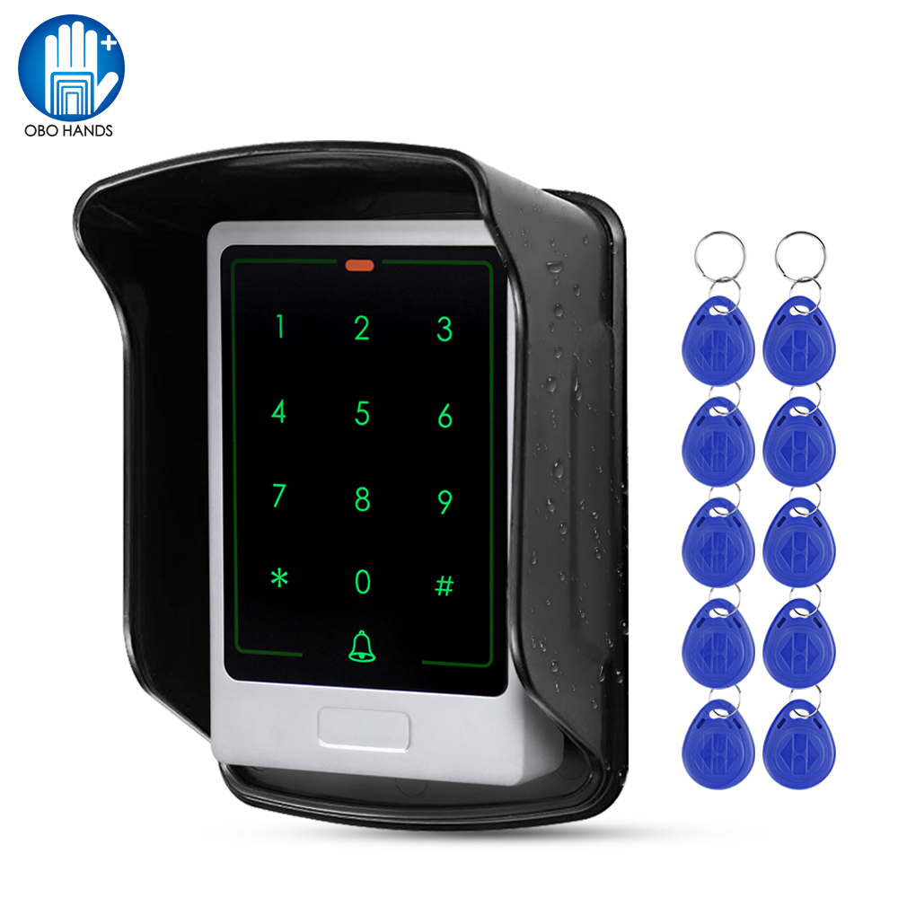 RFID Touch Metal Access Control Keypad Waterproof Outdoor Door Opener Electronic Lock System Kit 10pcs EM4100 Keyfobs Card Keys