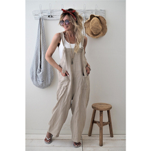 2019 New Brand Women Casual Loose Cotton Linen Solid Pockets Jumpsuit Overalls W
