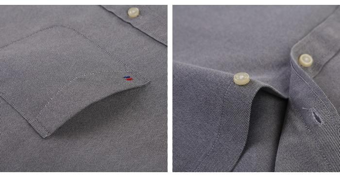 H8ed0746344044cbb99c98f12756501c0f Men's Plus Size Casual Solid Oxford Dress Shirt Single Patch Pocket Long Sleeve Regular-fit Button-down Thick Shirts