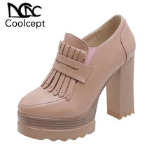 Coolcept Women Pumps Fashion Vintage Thick Heel Round Toe Shoes Women Platform Solid Color Office Lady Footwear Size 32-42 coolcept 4 color size 33 43 sexy women high heel shoes women pointed toe thick heel pumps office lady party shoes women footwear