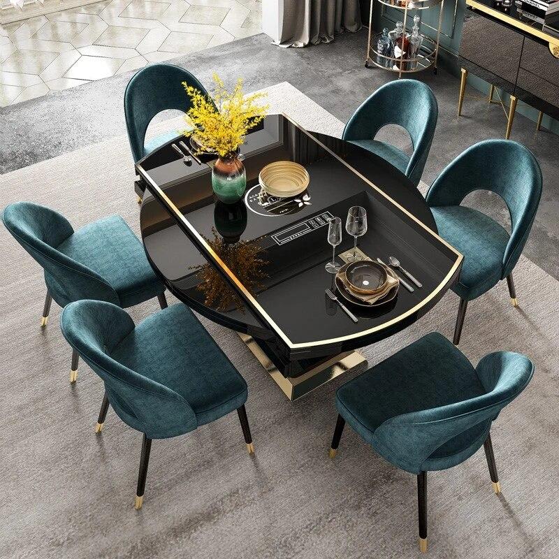 2019 nouvelle lumiere table a manger de luxe et chaise combinaison post moderne salon retractable rond multi fonction table a manger