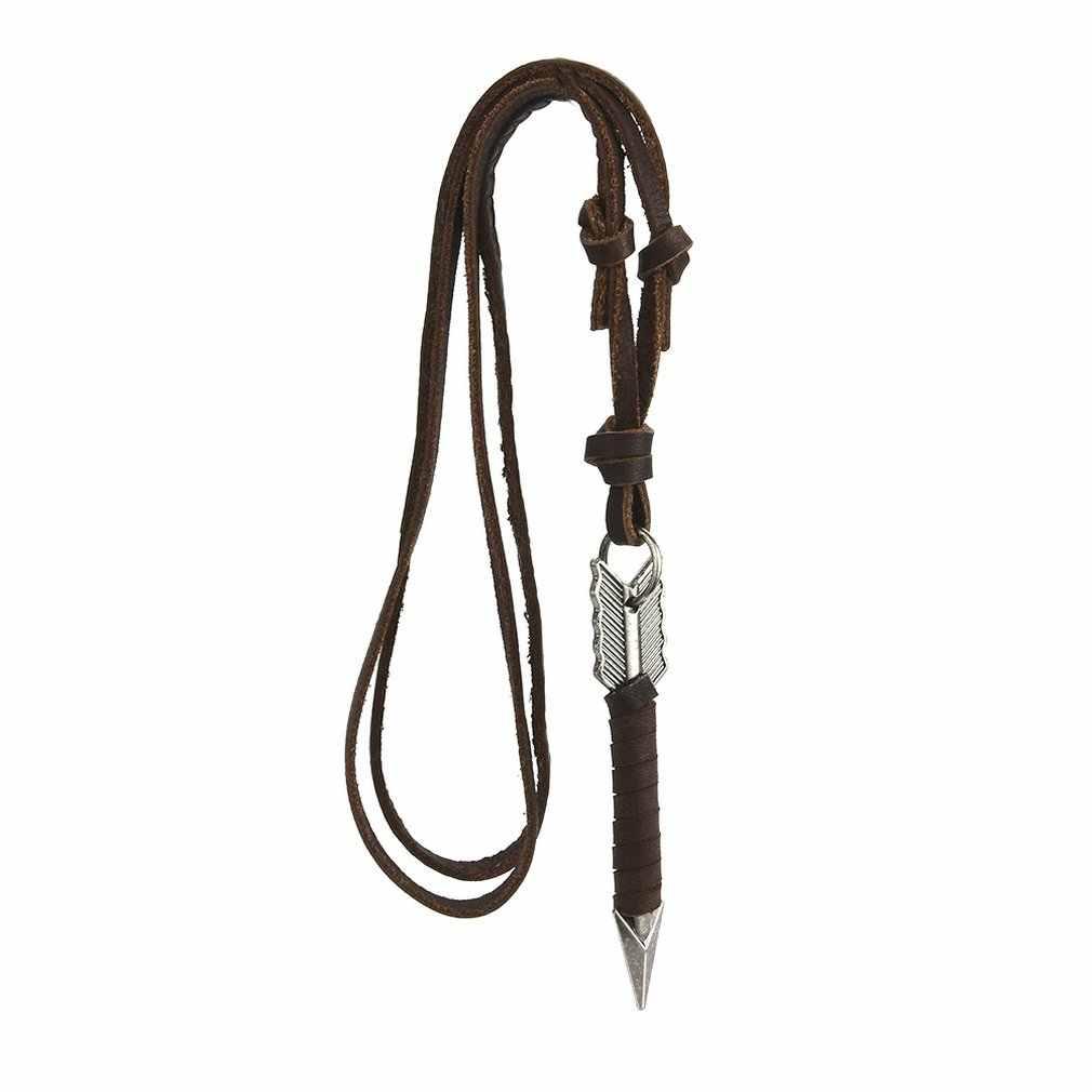 Moda Punk mężczyźni w stylu Vintage skórzana strzałka naszyjniki wisiorki naszyjniki ciała łańcuch Choker naszyjnik diy dla kobiet mężczyzn biżuteria