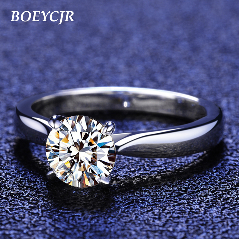 BOEYCJR 925 Silver 1ct D Color Moissanite VVS  Engagement Wedding Diamond Ring With National Certificate For Women Adjustable