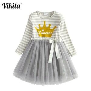 VIKITA Kids Girls Princess Dress Elegant Tutu Dress for Girls Toddlers Birthday Party Vestido Infantil Child Christmas Clothes
