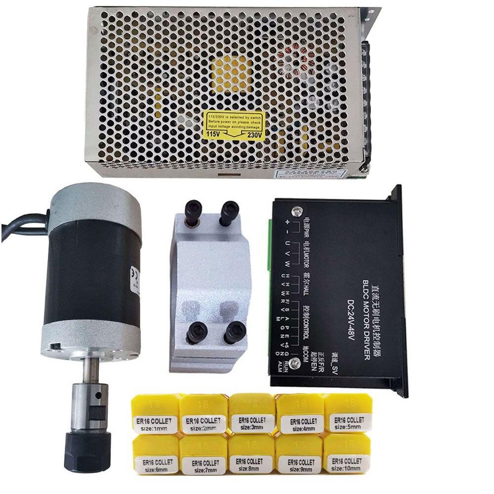 200 Вт/кВт/ER16 бесщеточный электродвигатель постоянного тока + 55 мм зажим с винтами + шаговый двигатель 20-50 В постоянного тока + источник питани...