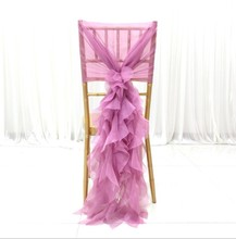 white romantic chair hood ruffled chiffon sashes wedding cruly willow sash 50pcs/lot Free shipping
