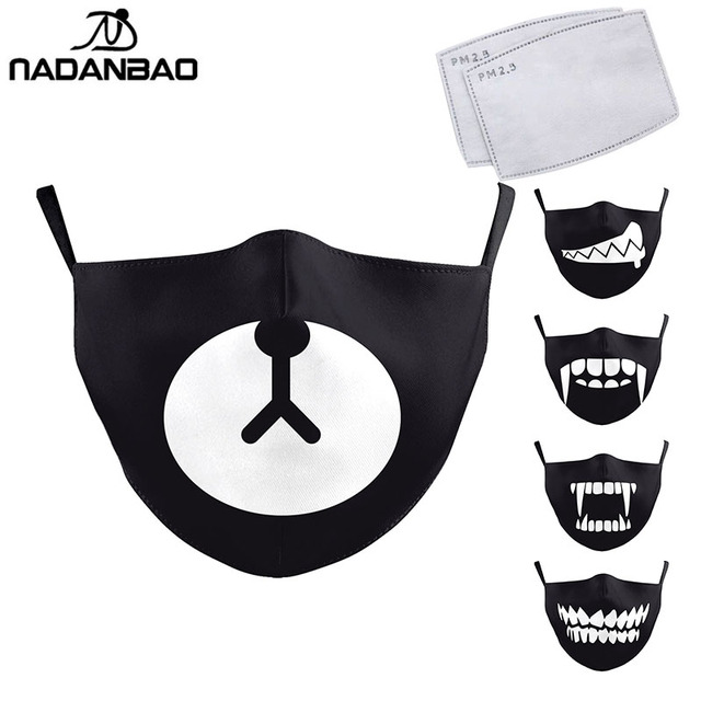 NADANBAO Cute Tooth Series Print Face Children Mask Black Washable Fabric Adult Kid Mask Reusable Mask Cover Cartoon