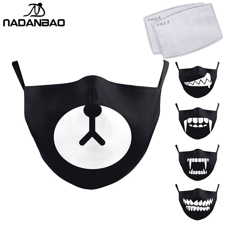 NADANBAO Cute Tooth Series Print Face Mask Black Washable Fabric Adult Kid Mask Reusable PM2.5 Protective Dust Mask Cover