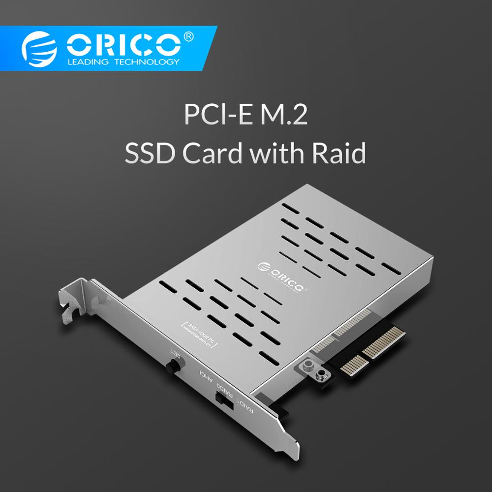 ORICO PCl-E M.2 SSD Card Desktop Disk Array Card PCI-E M.2 SSD Stainless Steel High-speed Raid Hard Drive Expansion Card