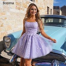 Милое Сиреневое короткое платье для встречи выпускников кружевное