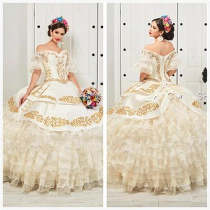 Image 1 - New Charro Quinceanera Dresses 2020 Off Shoulder Puffy Skirt Ruffled Gold Embroidery Beads Princess Sweety 16 Dress