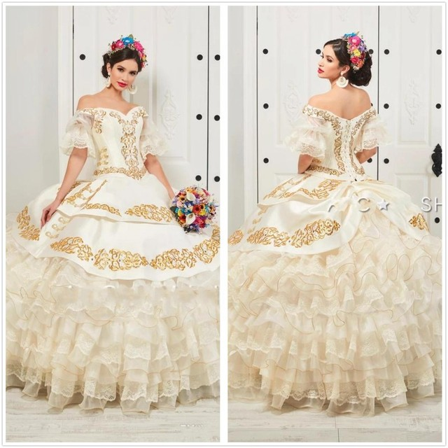 New Charro Quinceanera Dresses 2020 Off Shoulder Puffy Skirt Ruffled Gold Embroidery Beads Princess Sweety 16 Dress