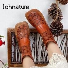Johnature buty Retro kobiety sandały letnie buty prawdziwej skóry 2021 nowy Zip Hollow zwięzłe ręcznie szycia sandały na platformie