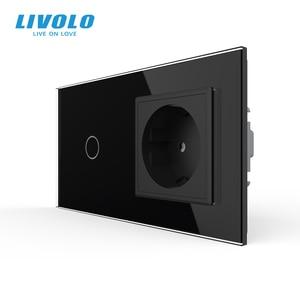 Image 3 - Livolo EU standard Touch Switch,Crystal Glass Panel, AC 220~250V 16A Wall Socket plug with Light Switch