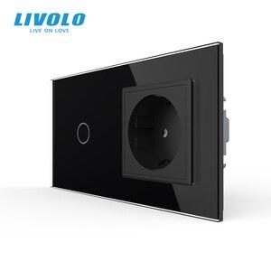 Image 2 - Livolo האיחוד האירופי תקן Touch, זכוכית קריסטל לוח, AC 220 ~ 250V 16A קיר שקע תקע עם אור מתג