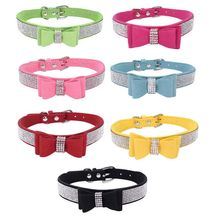 2020Full Rhinestone Soft Seude Leather Dogs Collar Bling Padded Bow Knot Puppy Cat Pet Collar For Small Medium Breeds Dog 2020HW