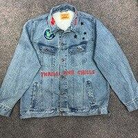 19ss Astroworld Jeans Jackets Travis Scott Denim Men Women Bomber Graffiti Streetwear High Quality 1:1 Hip Hop Astroworld Coats