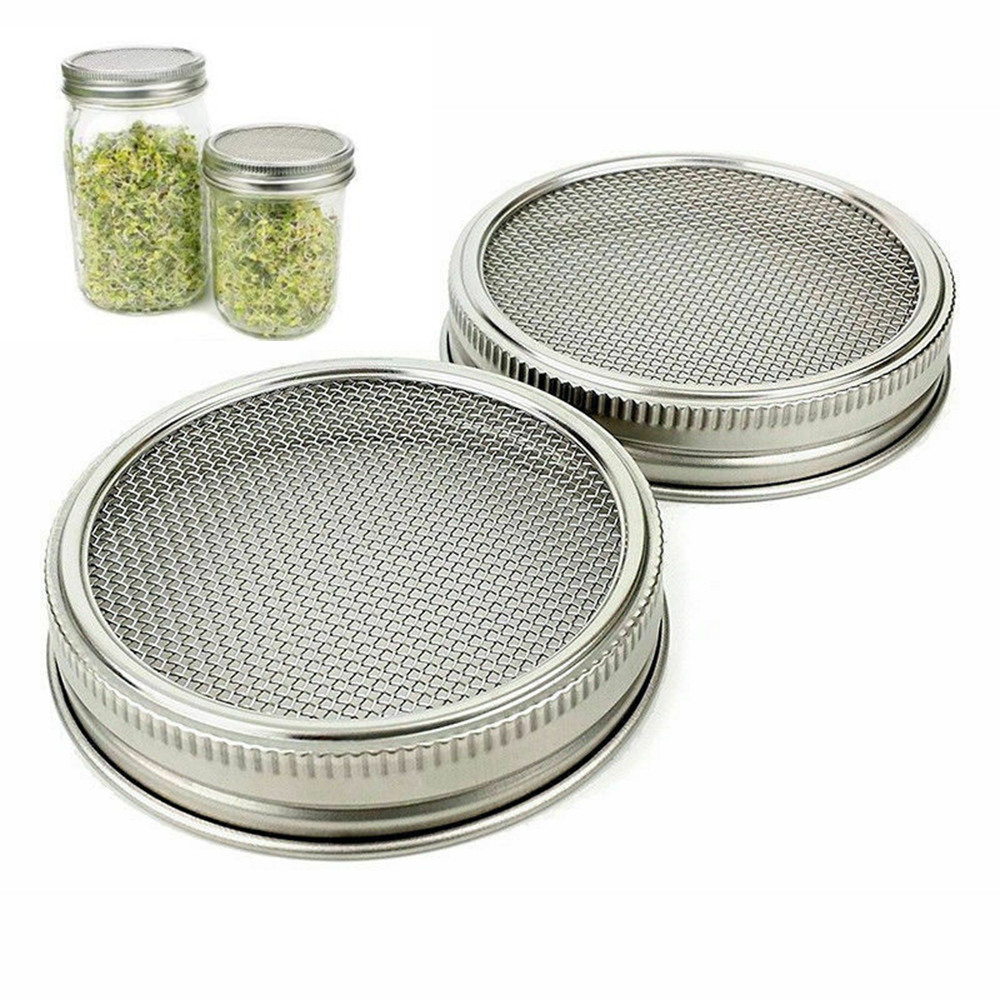 Strainer Sprouter Lid 2 Pack For Canning Jars Stainless Wide or Regular