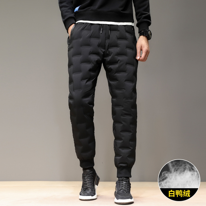 Winter Outdoor Man Down Pants Solid Color Thicken Windproof Warm 80% White Duck Down Filling Hiking Camping Trekking Trousers