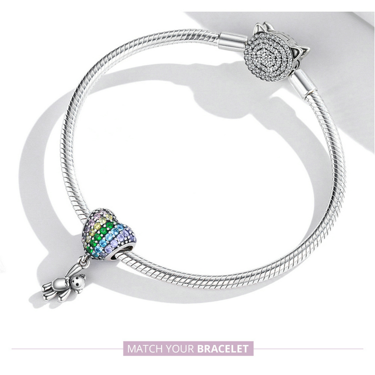 charm bracelet Luxury Silver Rainbow Heart Blue Crystal Balloon Bear Charm 925 Sterling Silver Pendant for Original Bracelet DIY Jewelry