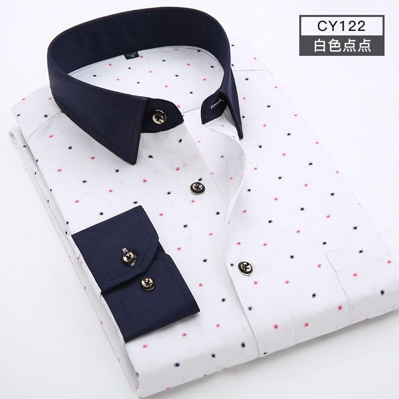 Men Shirt Long Sleeve Floral Printing Plaid Fashion Pocket Casual Shirts 100% Polyester Soft Comfortable Men Dress Shirt DS375 12