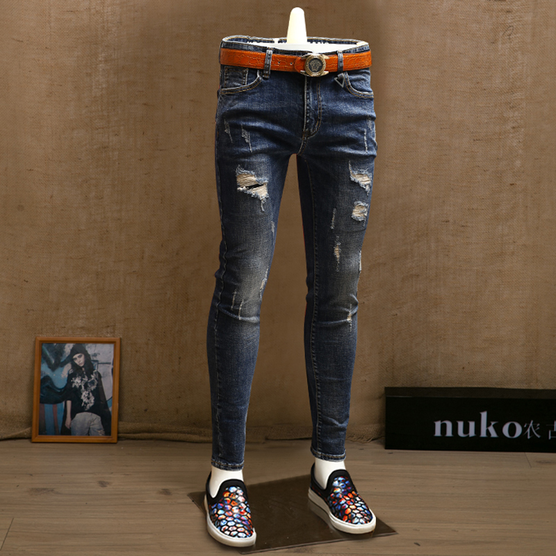 Fashion Mens Skinny Ripped Jeans Blue Midweight Jean Pencil Pants For Men Streetwear