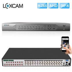 Видеорегистратор LOXCAM H.265 + 32ch 5M-N AHD DVR 6 в 1, гибридный AHD CVI NVR рекордер для системы безопасности 5 Мп 4 МП AHD камера onvif P2P с сигнализацией DVR