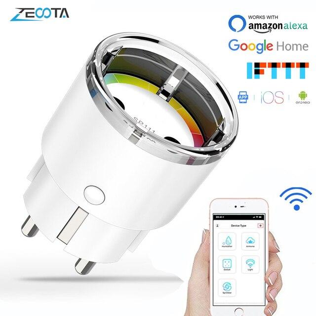 Wifi inteligentne gniazdo zasilania ue elektryczne gniazdka ścienne 10A czas głos bezprzewodowy pilot przez Tuya Smartlife Alexa Google Home