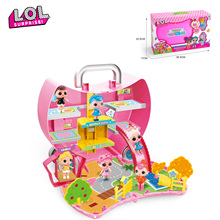 Original LOL surprise house Portable storage backpack park Anime figure model toy Girl's lol dolls action figures gift DIY toys