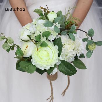 Weztez bukiety ślubne dla nowożeńców z koronki bukiety ślubne sztuczne jedwabne kwiaty róży kobiet akcesoria ślubne SPH136 tanie i dobre opinie NYLON 27cm 23cm 0 25kg FZ005 Bukiet ślubny bridal bouquet wedding bouquet