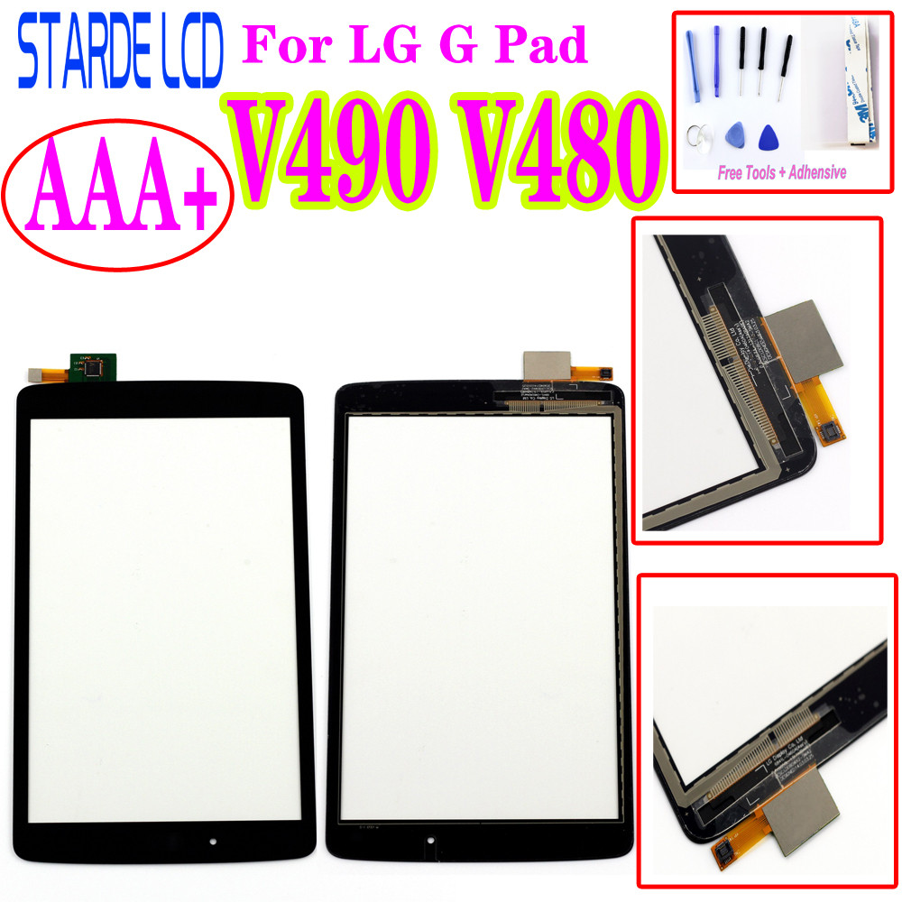 For LG G Pad F 8.0 V480 V490 Touch Screen Digitizer Glass LENS Sensor Panel Replacement+Tools+Tapes