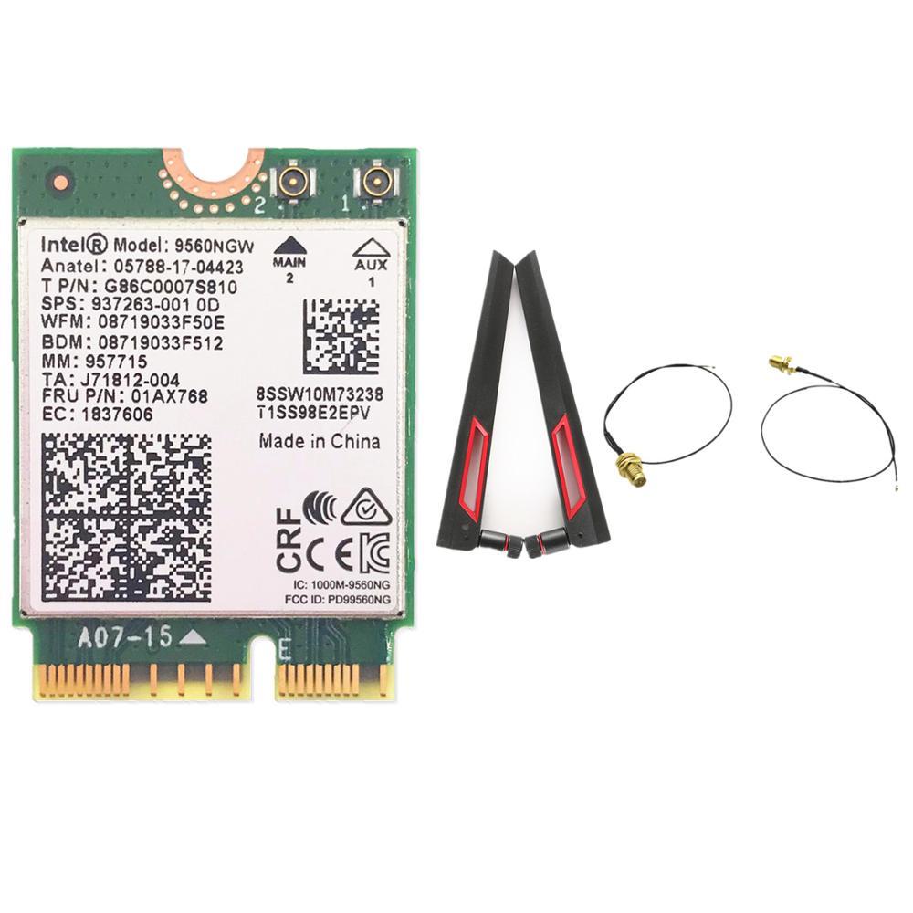 Intel 9560 9560NGW 1730Mbps Bluetooth 5.0 Card with ASUS AC88U 8dbi Dual Band MHF4 UF.L Antennas set