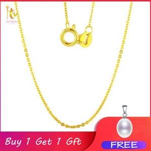 Image 1 - NYMPH Подлинная 18K белая цепочка из желтого золота 18 дюймов au750 цена ожерелье кулон Wendding вечерние подарок для женщин [G1002]
