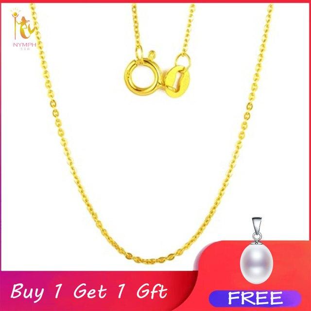 NYMPH Подлинная 18K белая цепочка из желтого золота 18 дюймов au750 цена ожерелье кулон Wendding вечерние подарок для женщин [G1002]