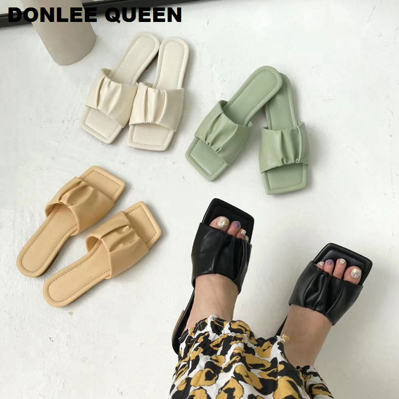 2020 Brand Pleated Slippers Women Square Toe Flat Slides Summer Beach Flip Flops Sandals Women Outdoor Slippers  Massage Outsole