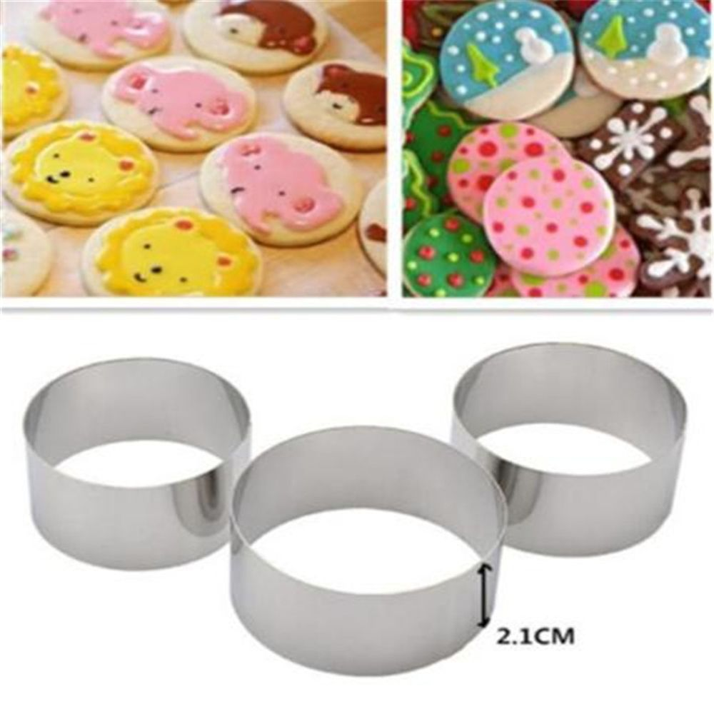 3pcs/set Stainless Steel Cookie Cutters Mold Round Shape DIY Fondant Cake Gum Paste Biscuits Pastry Mould Home Kitchen Gadgets circle
