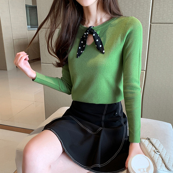 Ailegogo New Spring Women Knitted Sweater Casual Female Butterfly Collar Slim Fit Pullovers Solid Color Korean Style Knitwear 1