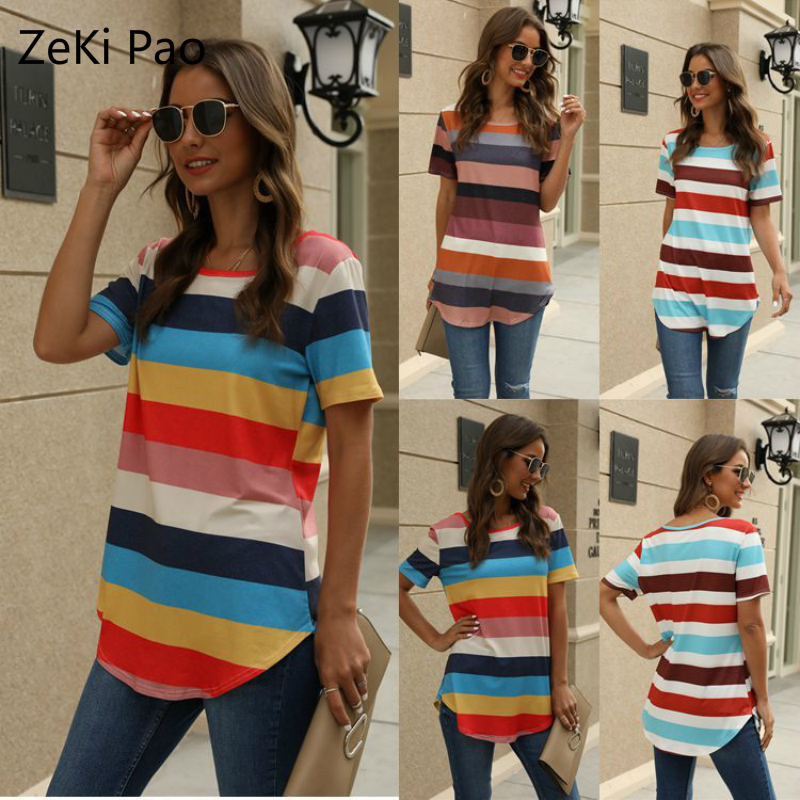 2020 Spring and Summer New Women's T-shirt Striped Printing Short Sleeve Round Neck Stitching Women's Shirt Street Clothing
