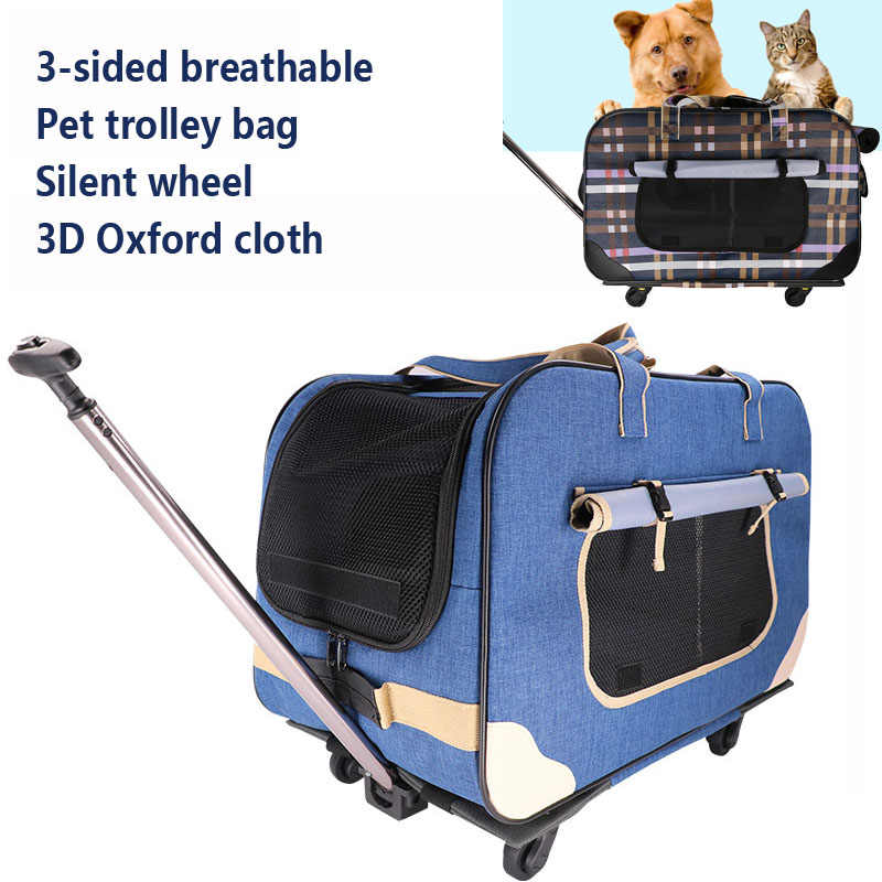 A,Silent 4-wheel Foldable Pet Stroller Portable Breathable Pet Trolley Waterproof with 900D Oxford Cloth Carrier Bag