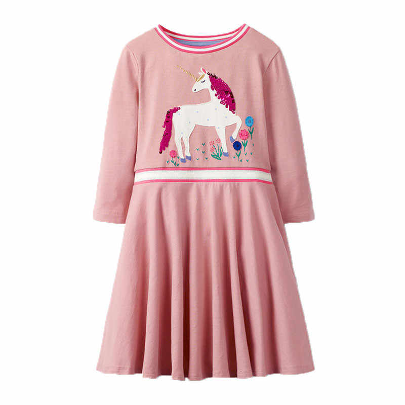 Princess Party Girls Dresses with Unicorn Applique New Arrival Autumn Spring Baby Clothes Long Sleeve Kid Dress for Girl Costume