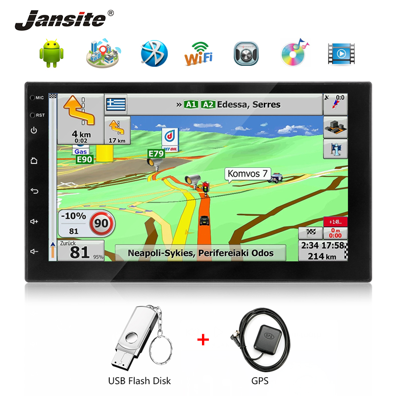 Jansite Car Radio Multimedia player 7 Touch screen Android Bluetooth Phone Call FM Navigation WIFI Reverse